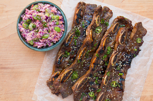 Grilled Korean short ribs with an asian slaw