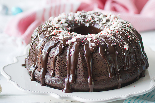 Peppermint Crunch Bundt Cake
