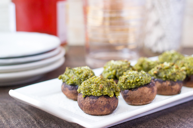 Pesto & Quinoa Stuffed Mushrooms