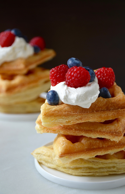 Puff Pastry Waffles with Whipped Cream