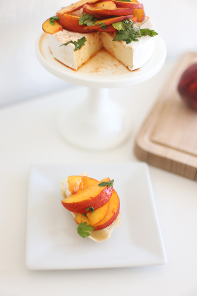 "Baked Brie ""Cake"" with Chili Infused Peach Topping"